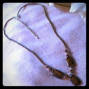 Vintage Tiger Eye & Seed Bead Necklace
